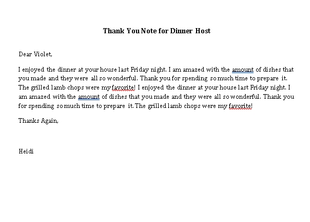 Sample Template thank you note for dinner host