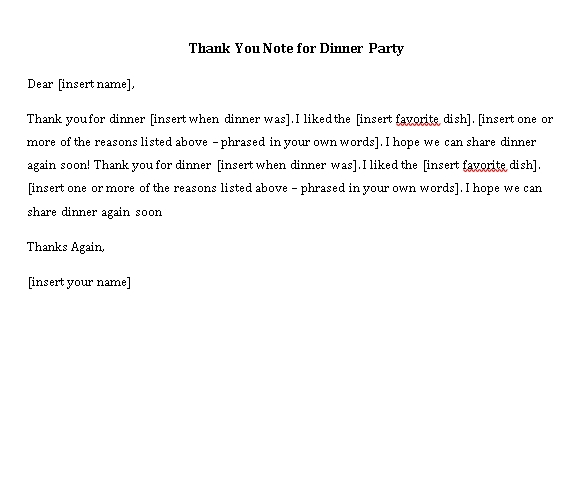 Sample Template thank you note for dinner party