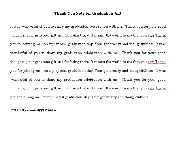 Sample Template thank you note for graduation gift