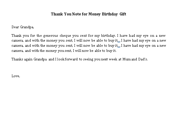 Sample Template thank you note for money birthday gift