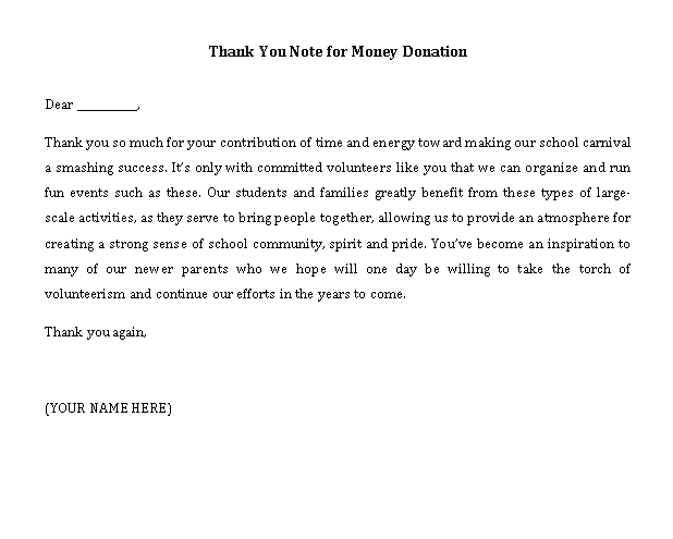 Sample Template thank you note for money donation