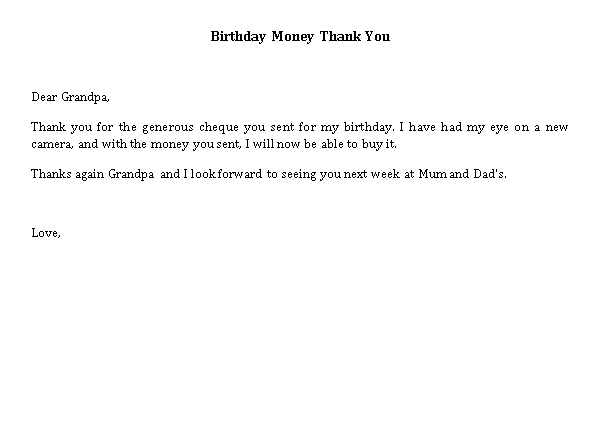 Sample Template thank you note for money for baby