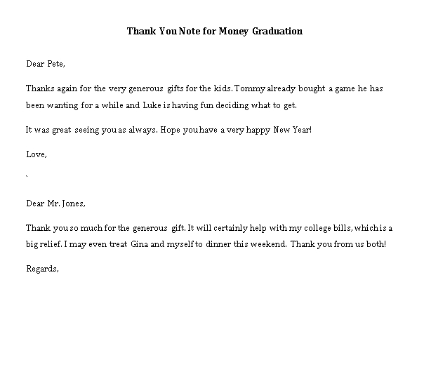 Sample Template thank you note for money graduation