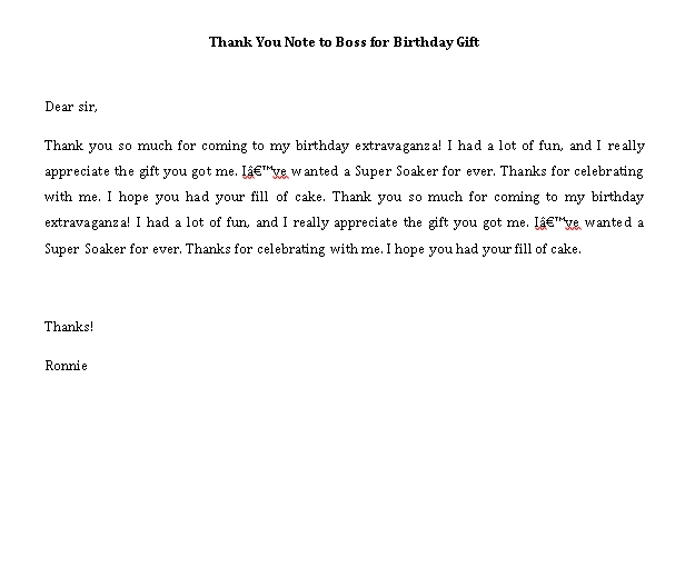 Sample Template thank you note to boss for birthday gift