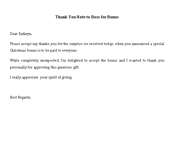 Sample Template thank you note to boss for bonus