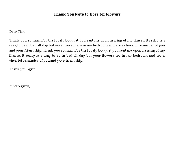Sample Template thank you note to boss for flowers