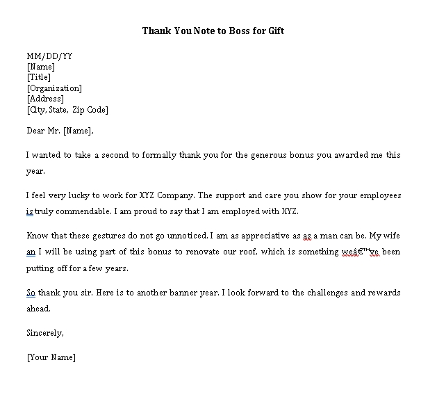 Sample Template thank you note to boss for gift