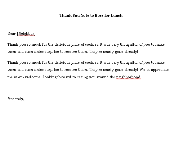 Sample Template thank you note to boss for lunch