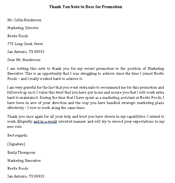 Sample Template thank you note to boss for promotion