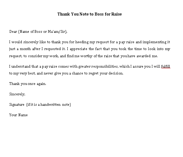 Sample Template thank you note to boss for raise
