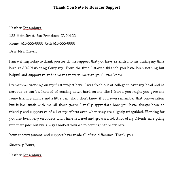 Sample Template thank you note to boss for support