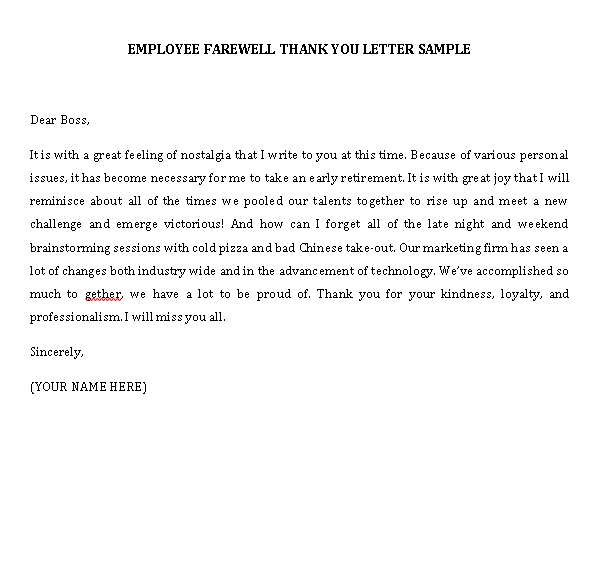 Sample Template thank you note to boss when leaving job
