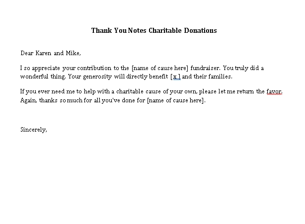Sample Template thank you notes charitable donations
