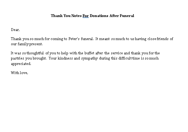 Sample Template thank you notes for donations after funeral
