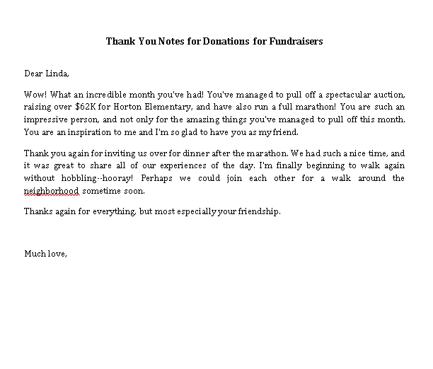 Sample Template thank you notes for donations for fundraisers