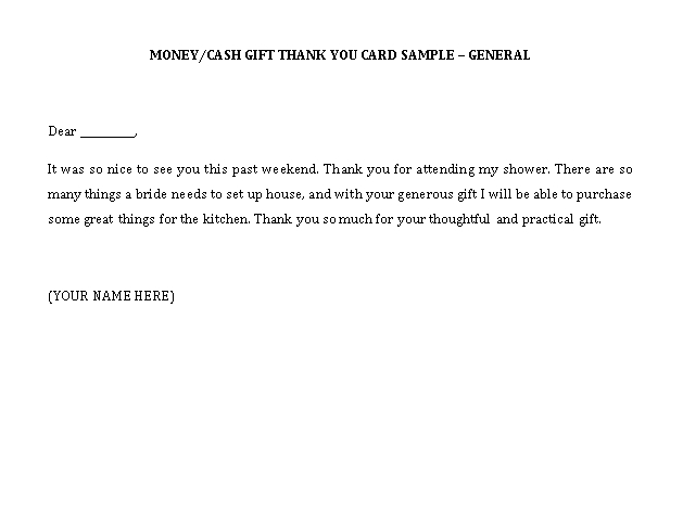 Sample Template thank you notes for money1