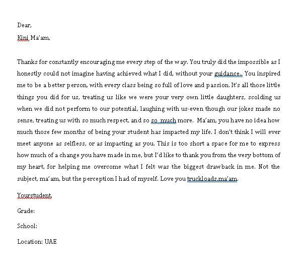 Sample Template thank you notes for teacher appreciation