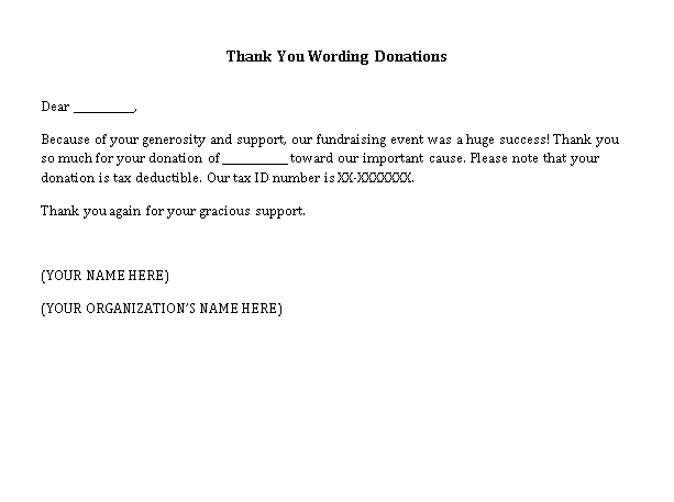 Sample Template thank you wording donations