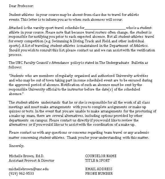 Sample Template university excuse note