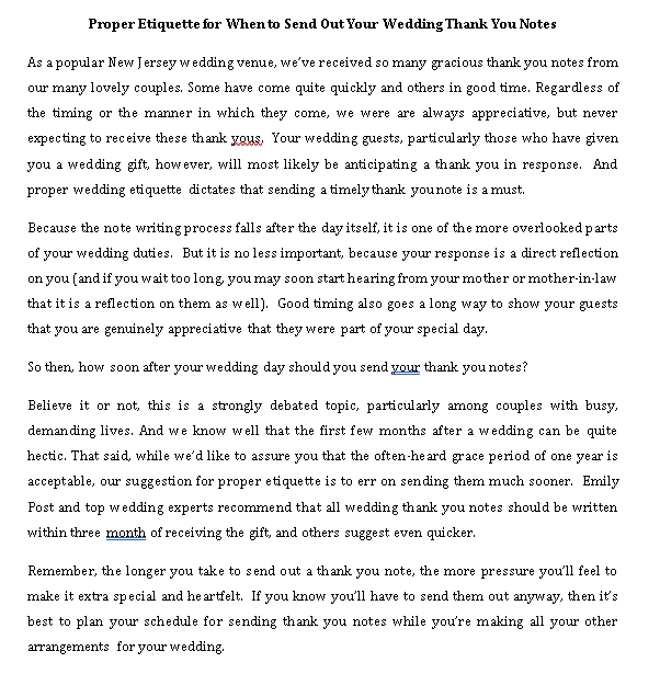 Sample Template wedding thank you notes etiquette