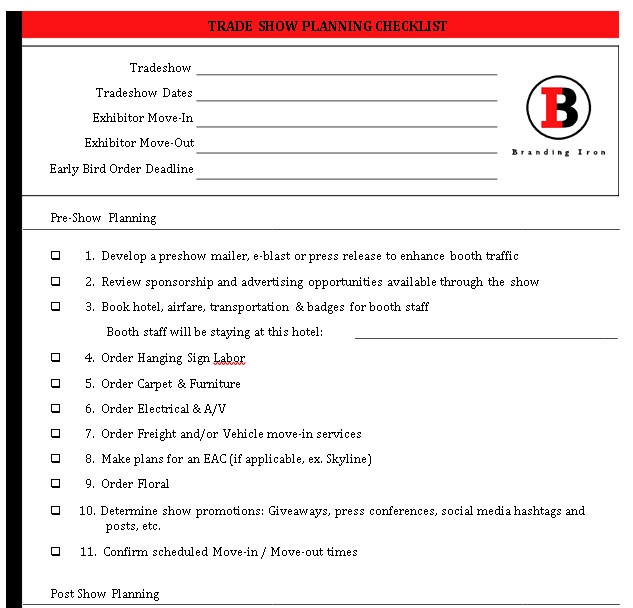 Sample Trading Show Planning Checklist