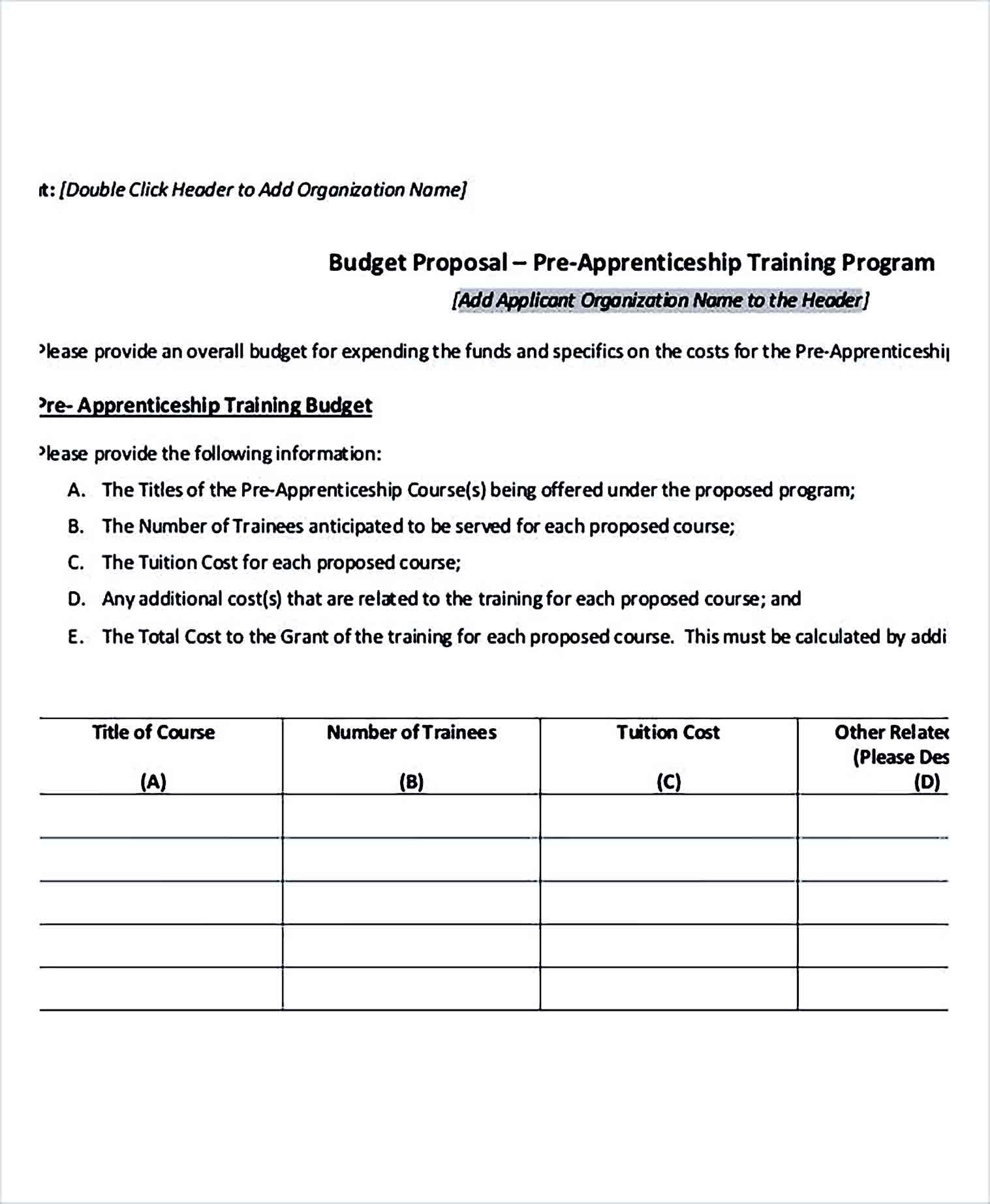Sample Training Program Budget 1 1