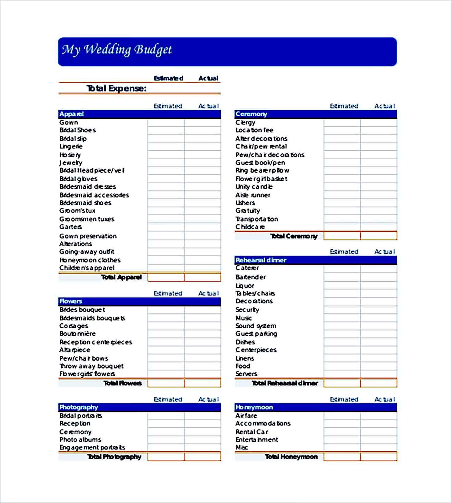 Sample Wedding Budget