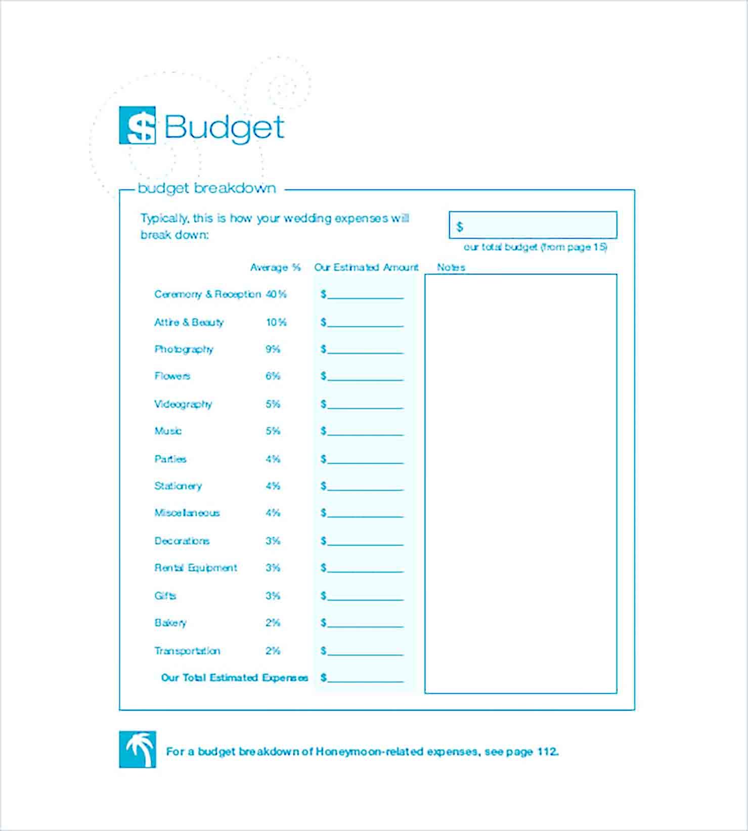 Sample Wedding Budget Calculator
