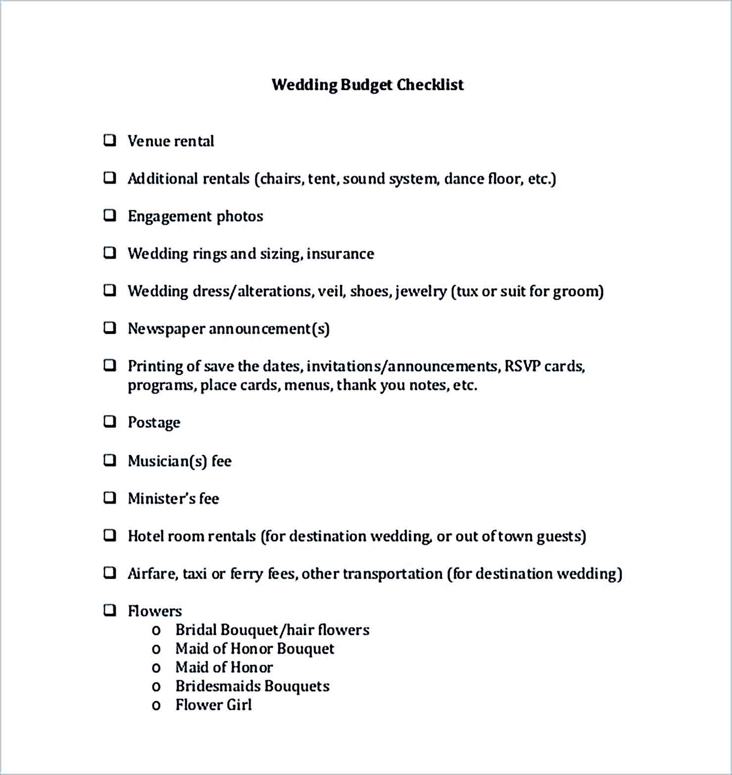 Sample Wedding Budget Checklist For