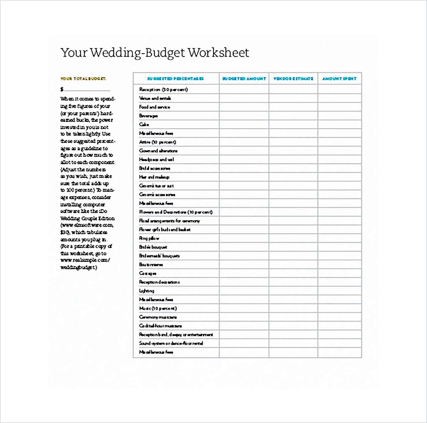 Sample Wedding Budget Worksheet