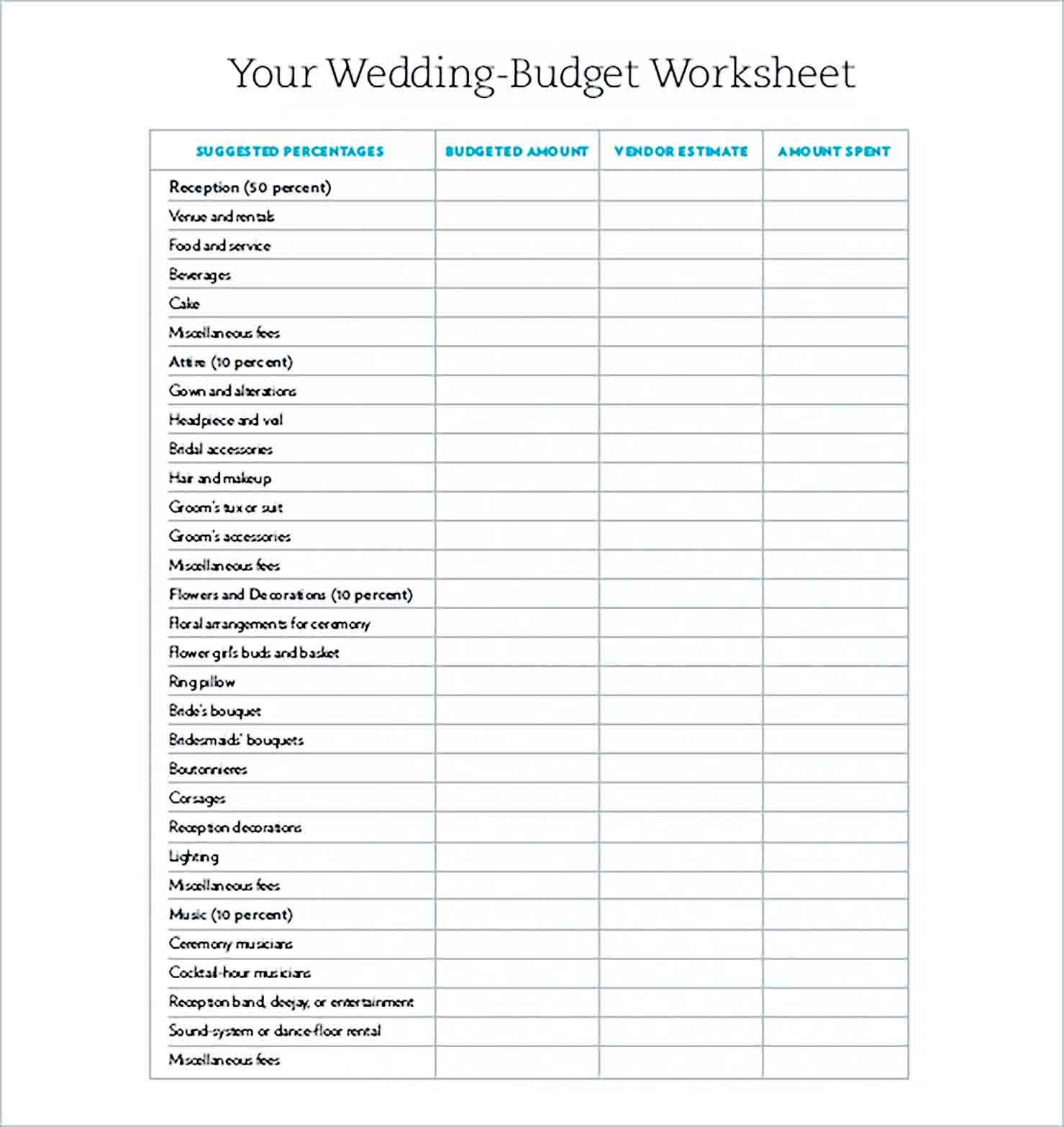 Sample Wedding Budget XL Sheet