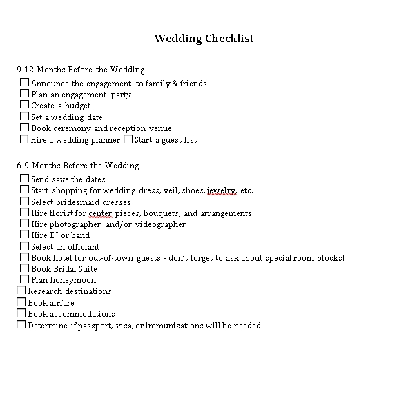 Sample Wedding Checklist 1