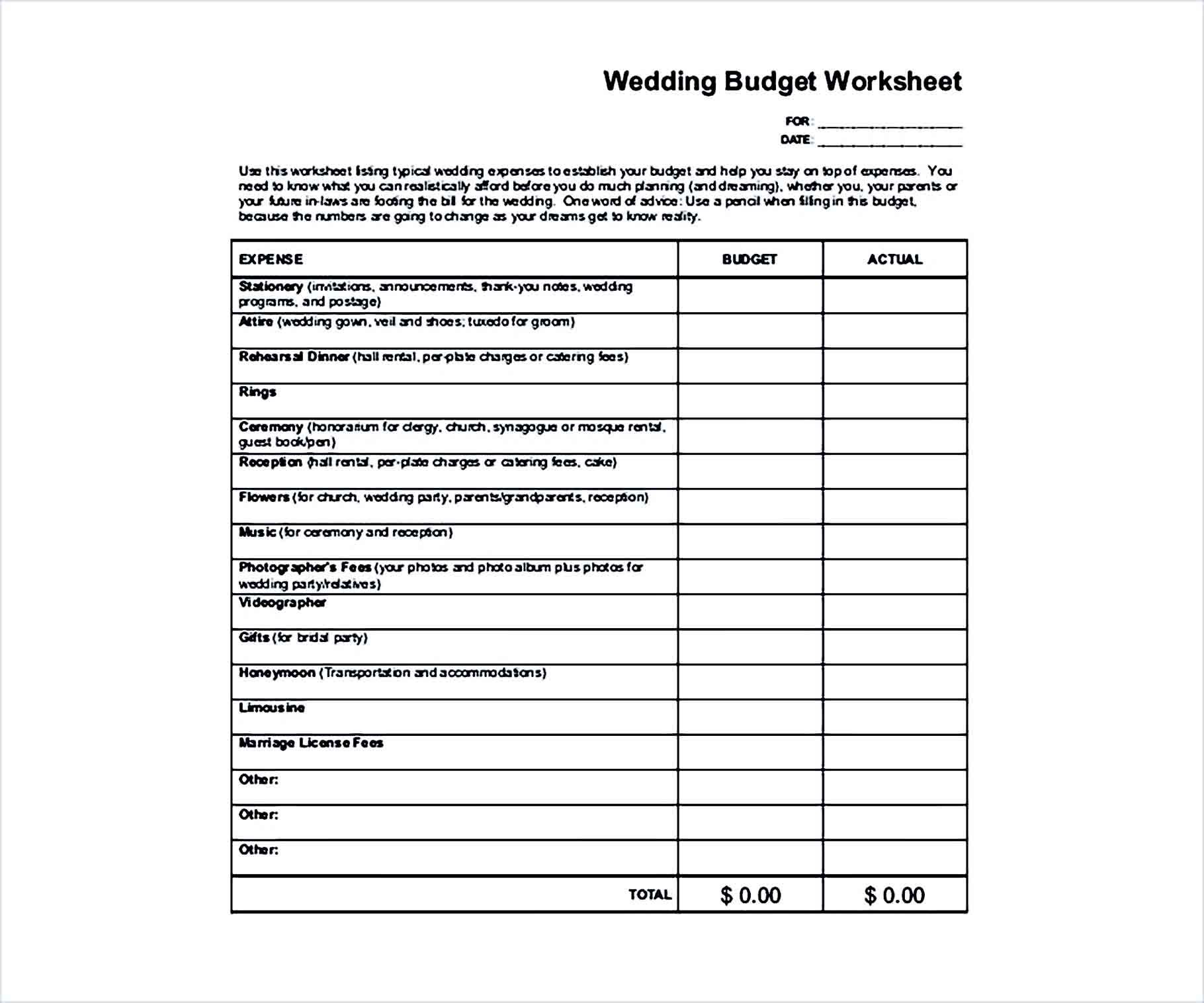 Sample Wedding Worksheet