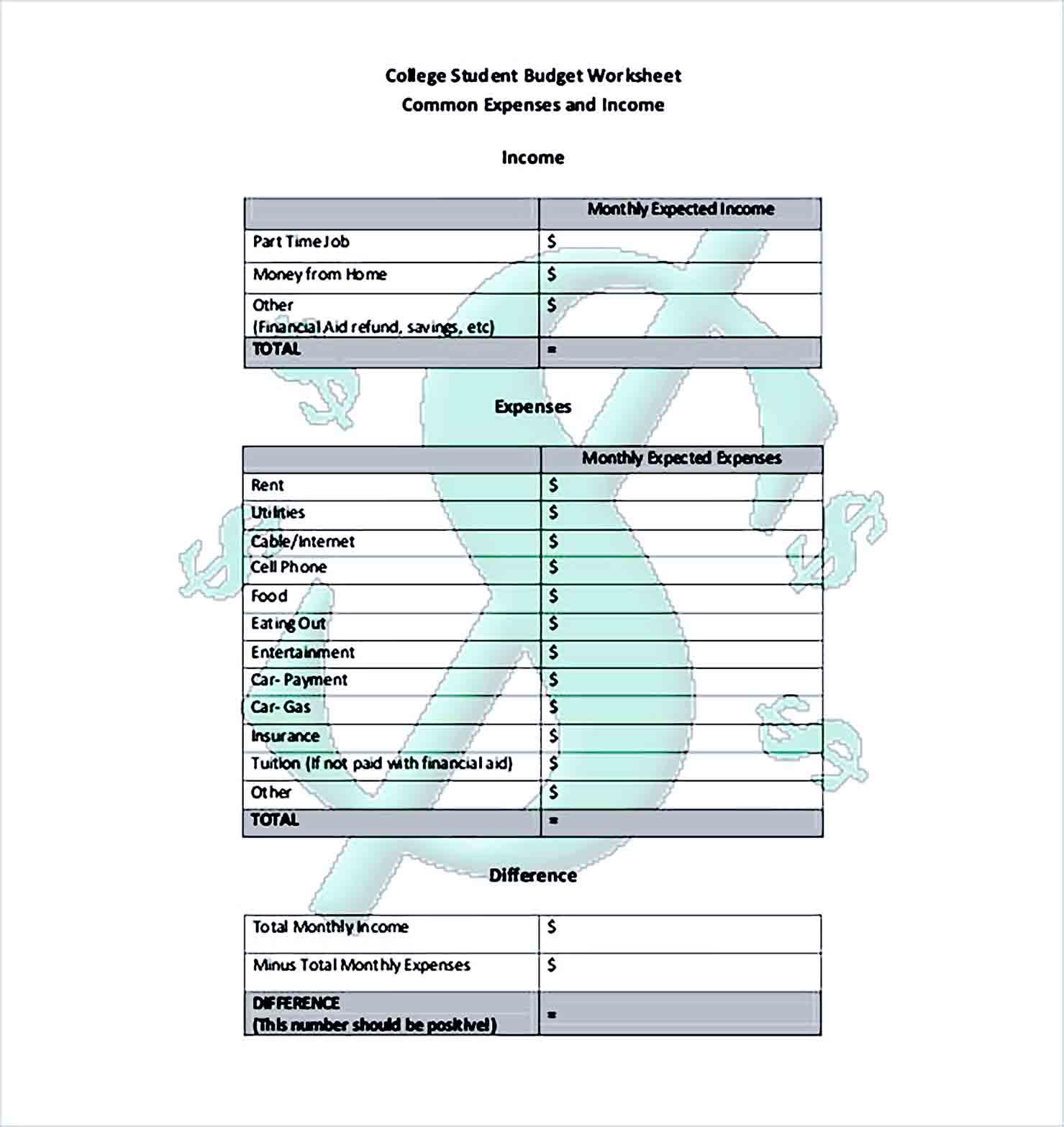 Sample college budget worksheet