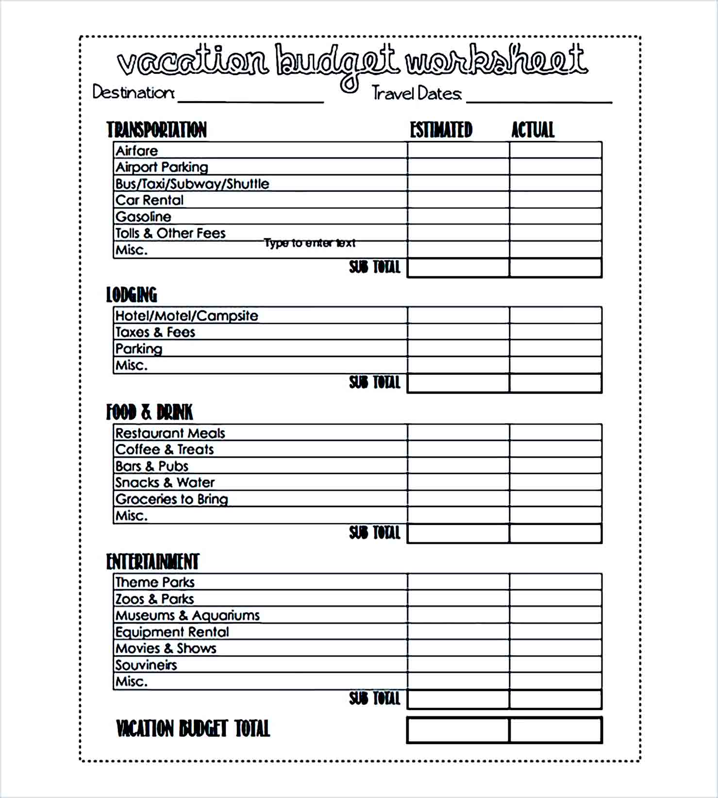 Sample vacation budget worksheet printable