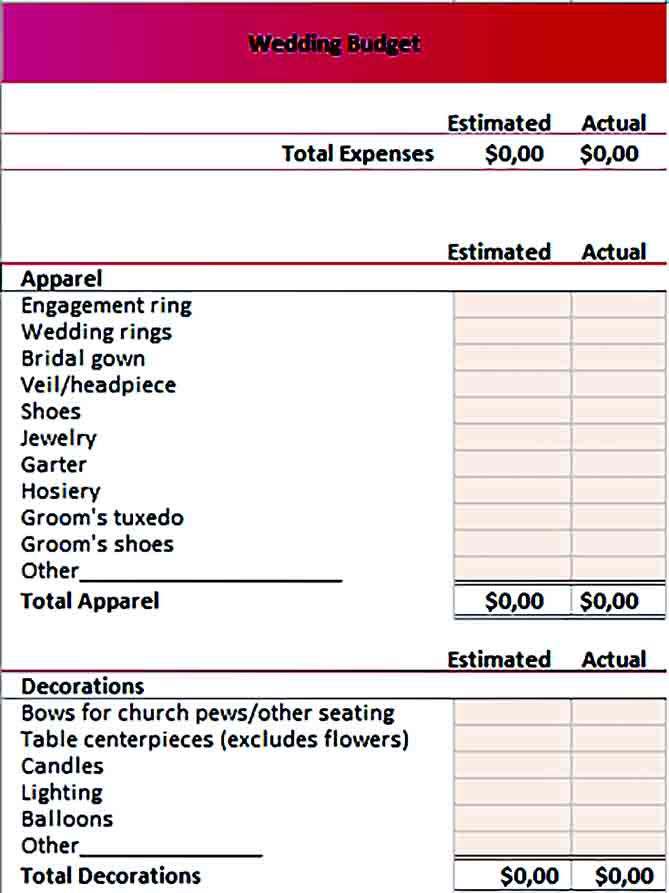 Sample wedding budget 001