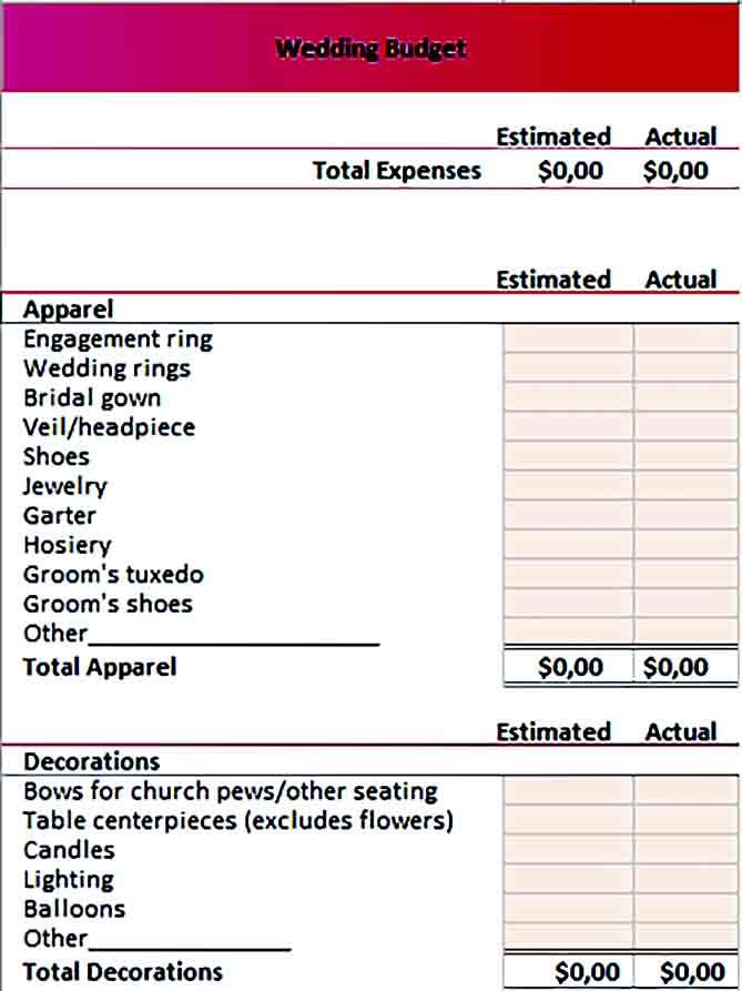 Sample wedding budget 001