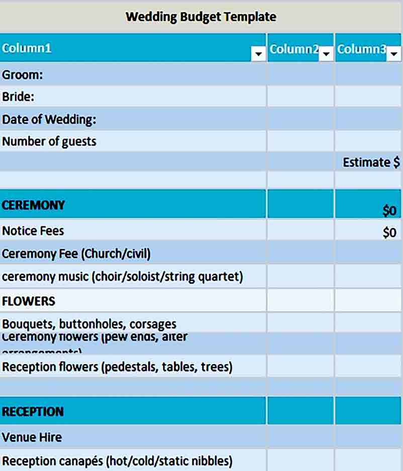 Sample wedding budget 003