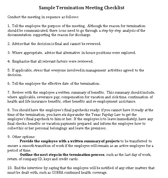 SampleTermination Meeting CheckList DOC Format Template