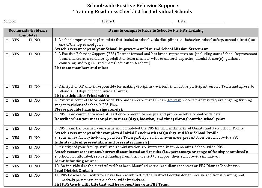 School Readiness Checklist 5.10.05