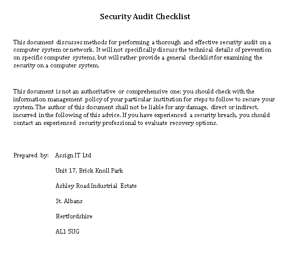 Security Audit Checklist Template