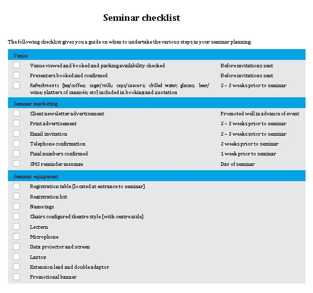Seminar Checklist in PDF