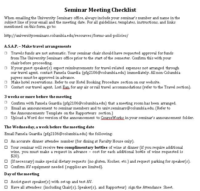 Seminar Meeting Checklist