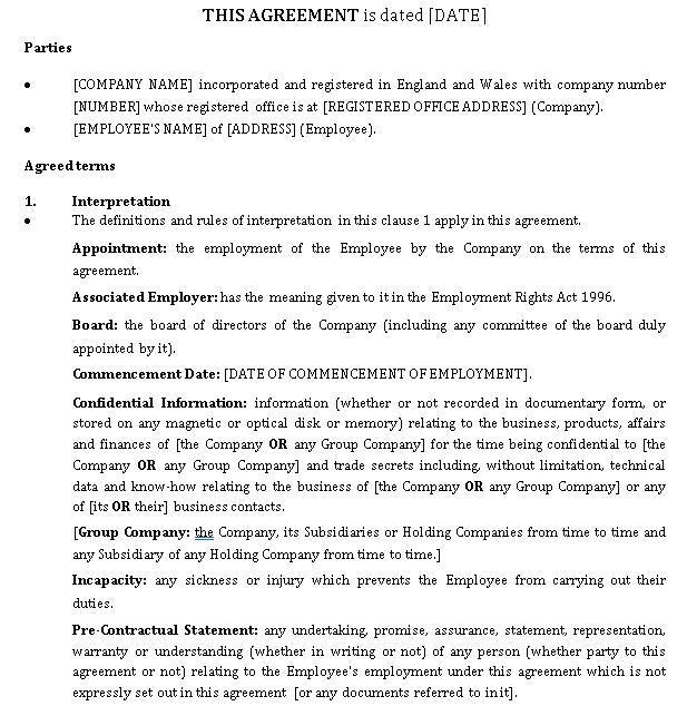Senior Executive Employee Agreement