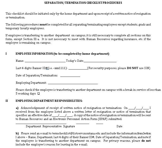 Separation Termination Checklist DOC Format Template