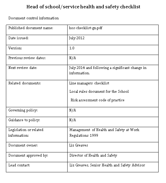 Service Control School Checklist
