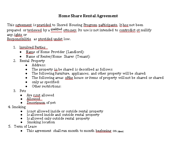 Shared House Rental Agreement