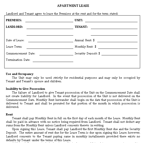 Simple Apartment Agreement Template