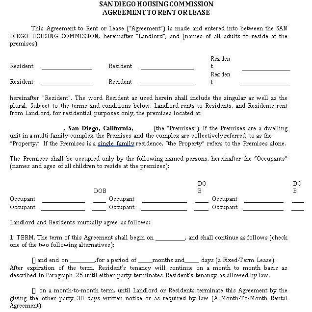 Simple House Rental Lease Agreement Example