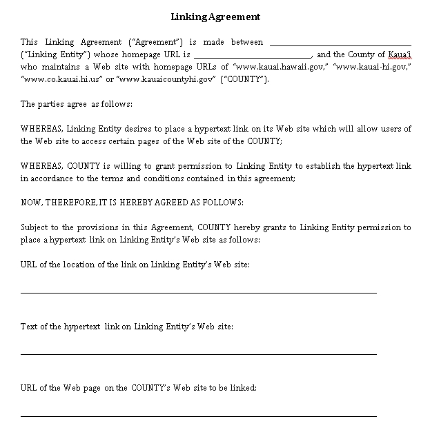 Simple Linking Agreement Template